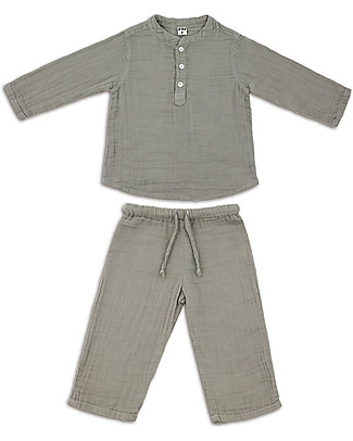 Numero 74 Dan Shirt & Pants Suit, Silver Grey - 100% cotton (1/4 years) Rompers