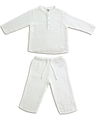 Numero 74 Dan Shirt & Pants Suit, White - 100% cotton (1/4 years) Rompers