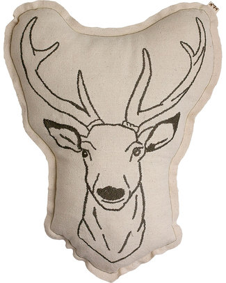Numero 74 Deer Cushion - Embroidered in Brown Cushions