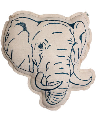 Numero 74 Elephant Cushion - Embroidered in Teal Blue Cushions