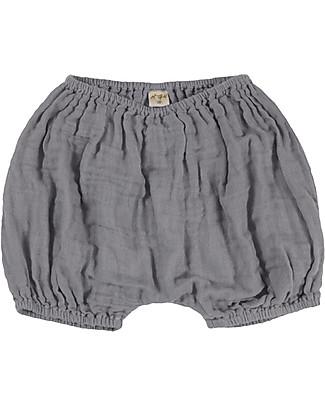 Numero 74 Emi Bloomer Shorts, Stone Grey - Organic Cotton (3-6 months) Shorts