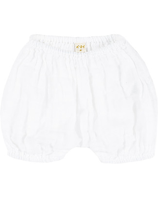 Numero 74 Emi Bloomer Shorts, White - Organic Cotton (3-6 months) Shorts