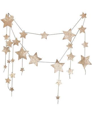 Numero 74 Falling Star Garland - Gold Glitter - 2.5mt Long Bunting