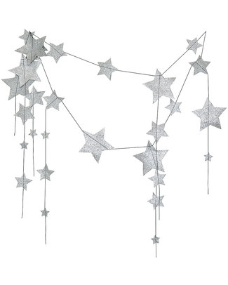 Numero 74 Falling Star Garland - Silver Glitter - 2mt Long Bunting