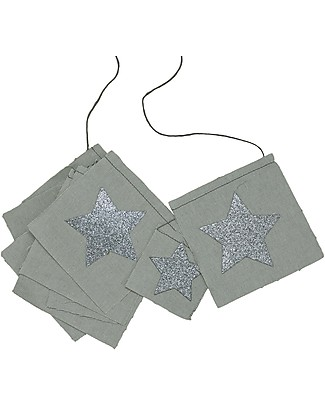 Numero 74 Fancy Garland with Glitter Stars, Silver Grey - 2,5 metres Bunting