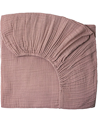 Numero 74 Fitted Bed Sheet, Dusty Pink - 70x140 cm, Cotton muslin Bed Sheets
