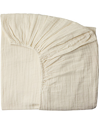 Numero 74 Fitted Bed Sheet, Natural - 60x120 cm - Organic Cotton muslin Bed Sheets