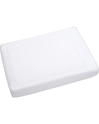 Numero 74 Fitted Changing Pad Cover 50x70 cm, White - Cotton - Includes 2 small swaddles Blankets