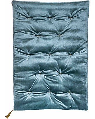 Numero 74 Futon 75x110 cm - Velvet - Ice Blue and Gold Embroidery Mattresses