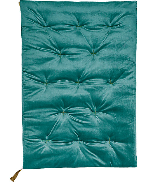 Numero 74 Futon 75x110 Cm Velvet Teal Blue And Gold Embroidery