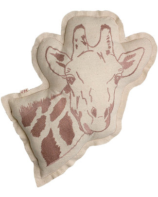 Numero 74 Giraffe Cushion - Embroidered in Dusty Pink Cushions