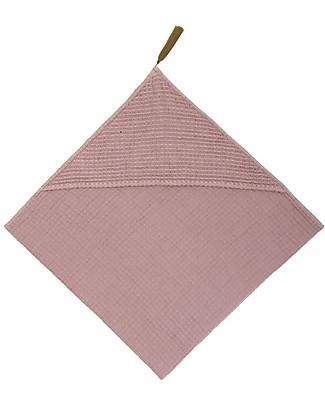 Numero 74 Hooded Baby Towel 80x80 cm, Dusty Pink - 100% organic cotton gauze waffle null