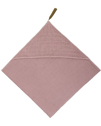 Numero 74 Hooded Baby Towel 80x80 cm, Dusty Pink - 100% organic cotton gauze waffle Towels And Flannels
