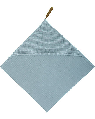 Numero 74 Hooded Baby Towel, Sweet Blue - 100% Organic cotton gauze waffle Towels And Flannels