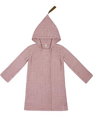 Numero 74 Hooded Bathrobe Kid, Dusty Pink -100% Organic cotton gauze waffle (3-5 years) Towels And Flannels