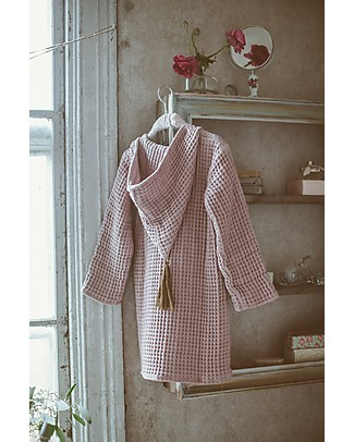 Numero 74 Hooded Bathrobe Kid, Dusty Pink -100% Organic cotton gauze waffle (3-5 years) Towels And Flannels