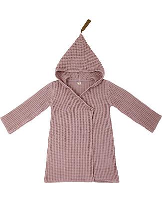 Numero 74 Hooded Bathrobe Kid, Dusty Pink -100% Organic cotton gauze waffle (6-8 years) null