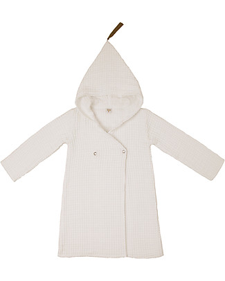 Numero 74 Hooded Bathrobe Kid, Natural -100% Organic cotton gauze waffle (6-8 years) Towels And Flannels