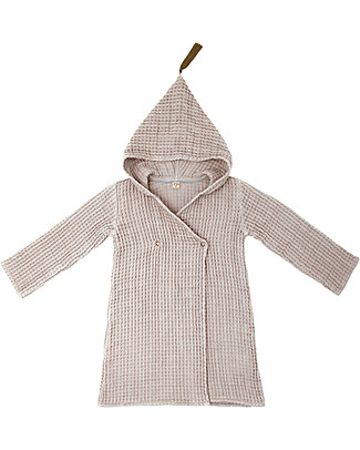 Numero 74 Hooded Bathrobe Kid, Powder -100% Organic cotton gauze waffle (3-5 years) Sanitary Napkins and Pantyliners