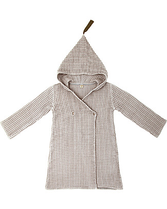 Numero 74 Hooded Bathrobe Kid, Powder -100% Organic cotton gauze waffle (6-8 years) Towels And Flannels