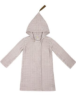 Numero 74 Hooded Bathrobe Kid, Powder -100% Organic cotton gauze waffle (6-8 years) Towels And Flannels