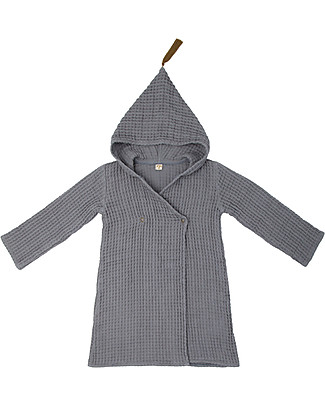 Numero 74 Hooded Bathrobe Kid, Stone Grey -100% Organic cotton gauze waffle (6-8 years) Towels And Flannels