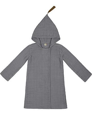 Numero 74 Joy Bathrobe Kid, Stone Grey (3-5 years) - 100% cotone bio nido d'ape Towels And Flannels