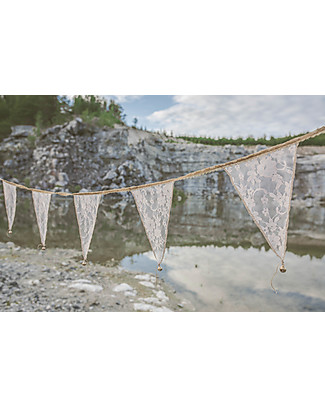 Numero 74 Lace Flower Bunting Garland, White - 2,5m Bunting