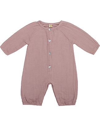 Numero 74 Leni Jumpsuit Baby, Dusty Pink (9-12 months) - 100% organic cotton double saloo Dungarees
