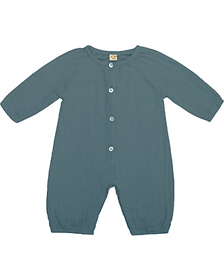 Numero 74 Leni Jumpsuit Baby, Ice Blue - 100% organic cotton double saloo Dungarees