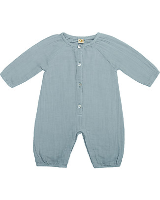 Numero 74 Leni Jumpsuit Baby, Sweet Blue (9-12 months) - 100% organic cotton double saloo Dungarees