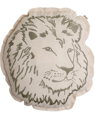 Numero 74 Lion Cushion - Embroidered in Beige Cushions