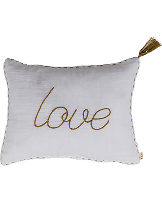 Numero 74 Love Cushion 30x40 cm - White with Gold Embroidery  Pillows
