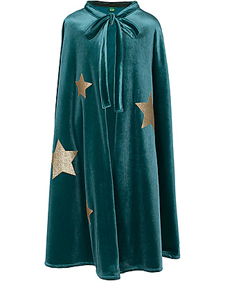 Numero 74 Merlino Fancy Dress Cape - Teal with Gold Stars - 100% Velour Dressing Up & Role Play