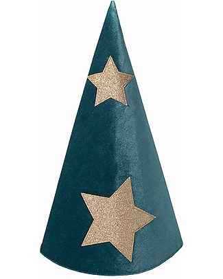 Numero 74 Merlino Hat - Teal Blue/Green Velvet and gold stars null