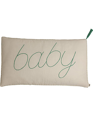 Numero 74 Message Cushion Baby - Natural  with aqua blue embroidery - 40x70 cm Pillows
