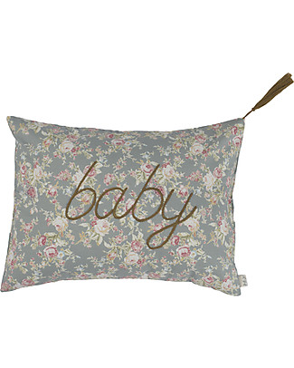 Numero 74 Message Cushion Baby - Roses on Silver Gray - 30x40 cm Cushions