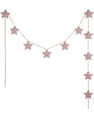 Numero 74 Mini Star Garland, Dusty Pink - 2,5 m - 100% organic cotton Bunting