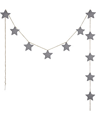 Numero 74 Mini Star Garland, Stone Grey - 2,5 m - 100% organic cotton Bunting