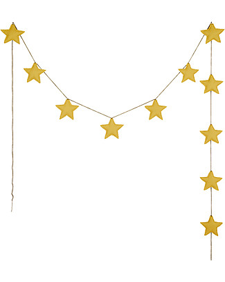 Numero 74 Mini Star Garland, Sunflower Yellow - 2,5 m - 100% organic cotton Bunting