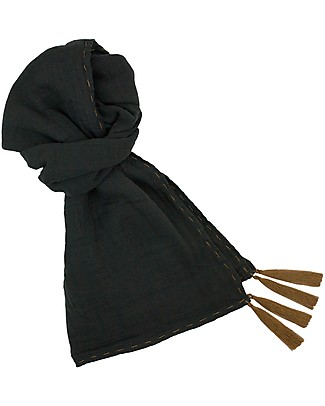 Numero 74 Mum Scarf, Dark Grey - 100% Muslin Cotton Scarves And Shawls