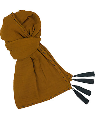 Numero 74 Mum Scarf, Gold with Embroidery - 100% Muslin Cotton Scarves And Shawls