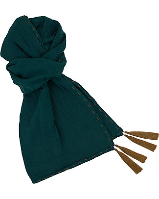 Numero 74 Mum Scarf, Teal Blue – 100% Muslin Cotton Scarves And Shawls