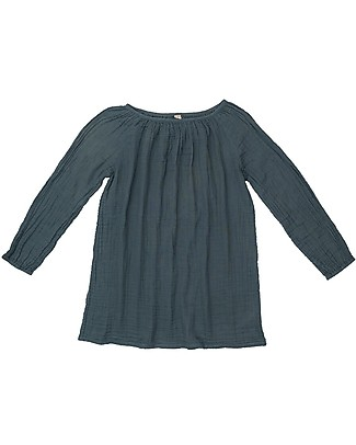 Numero 74 Nina Mum Tunic - Ice Blue - 100% Muslin Cotton Long Sleeves Tops