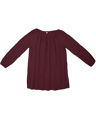 Numero 74 Nina Mum Tunic - Red Macaron - 100% Muslin Cotton Long Sleeves Tops