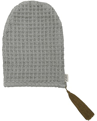 Numero 74 Organic Cotton Waffle Bath Glove, Silver Grey Towels And Flannels