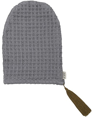 Numero 74 Organic Cotton Waffle Bath Glove, Stone Grey Towels And Flannels