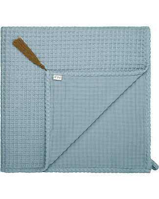 Numero 74 Organic Cotton Waffle Bath Towel, Sweet Blue - 50x90 cm Towels And Flannels