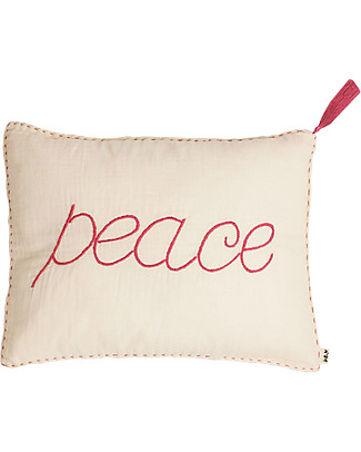 Numero 74 Peace Cushion 30x40 cm - Natural with Fuchsia Embroidery Pillows