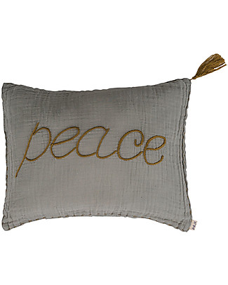 Numero 74 Peace Cushion 30x40 cm - Silver Grey with Gold Embroidery  Pillows